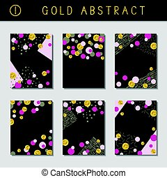 Set of metallic abstract brochures