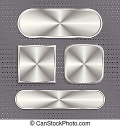 set of metallic buttons with brushed surface