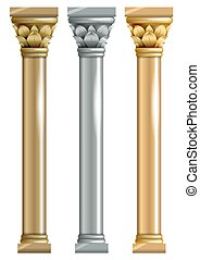 Set of metallic columns