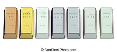 set of metallic ingots