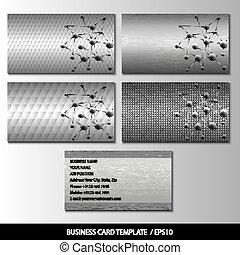 Set of metallic themed business card templates vector