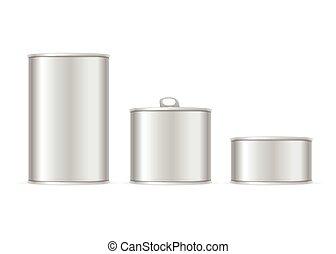 Set of Metallic Tin Cans. Vector