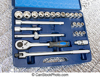 set of metallic tools.