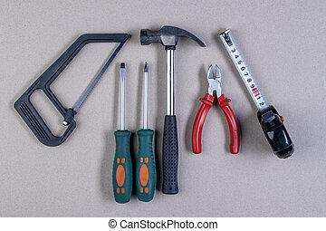 Set of metalwork tools.