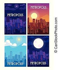 set of metropolis cityscape buildings scenes