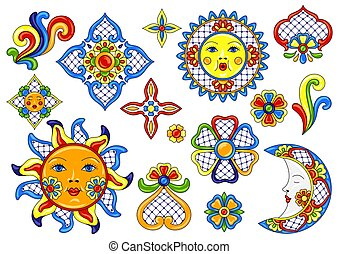 Set of mexican cute naive art items. Traditional decorative...