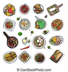 Set of mexican traditional food. Different dishes collection spicy bean soup chili, nachos, tortilla, fachitos, quesadilla, taco, guacamole. Hand drawn sketch, colorful vector illustration.