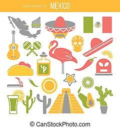 Set of Mexico travel symbols. Mexican flat vector...