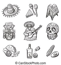 Set of Mexico vector illustrations, such as guitar,...