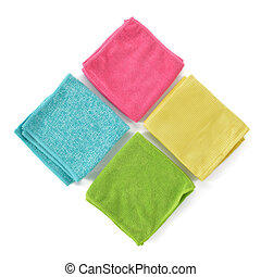 Set of colorful microfiber cleaning cloths isolated on white background. Cleaning cloth for different purposes.
