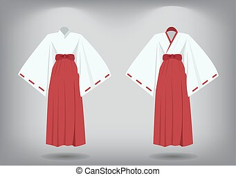 Set of miko suit, traditional japanese costume