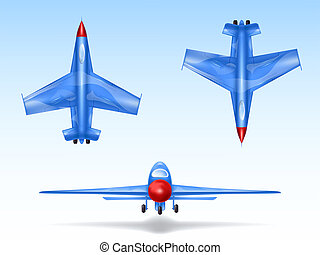 set of military aircrafts, fighter jets. Combat plane in different views, aviation, air vehicle, war airplane.