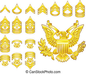 american army enlisted rank insignia icons - Set of military...