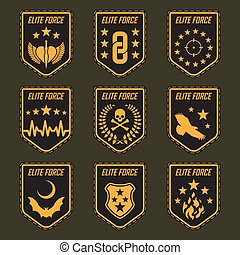 Set of military army badges. Vector illustration