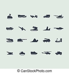 Set of military equipment icons