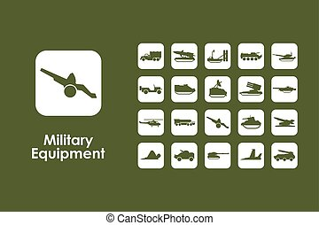 Set of military equipment simple icons
