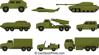 Set of military equipment. Vector illustration on a white background.