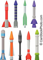 Set of military missiles. Vector illustration on a white background.