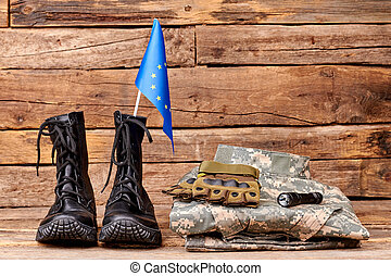 Set of military outfit of european army soldier.