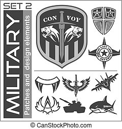 Set of military patches logos, badges and design elements