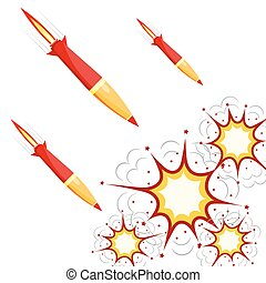 Set of military rockets red isolated on white background. Vector