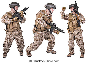 Set of military soldiers in uniform, ready to fight. Isolated on white background. This a montage with the same model.