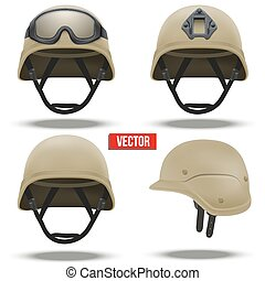 Set of Military tactical helmets desert color - Set of ...