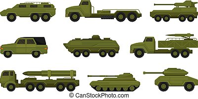 Set of military vehicles. Vector illustration on a white background.