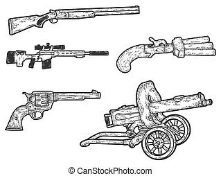 Set of military weapons. Sketch scratch board imitation. Black and white.