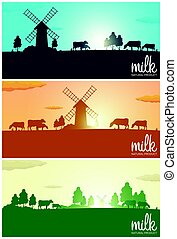Set of Milk banners. Milk natural product. Rural landscape with mill and cows. Dawn in the village. Sunrise.