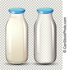 Set of milk bottle