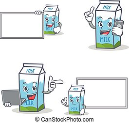 Set of milk box character with board phone laptop