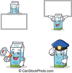 Set of milk box character with board megaphone police