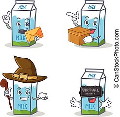 Set of milk box character with envelope box witch virtual