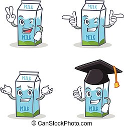 Set of milk box character with two finger wink graduation
