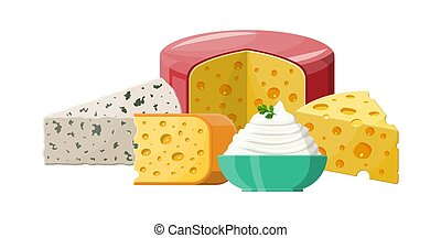 Set of milk cheese products.
