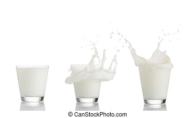 Set of milk splashing from the glass isolated on white background