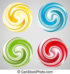 Set of milk yogurt cream curl or lollipop.
