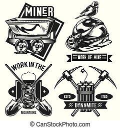 Set of miner emblems, labels, badges, logos.