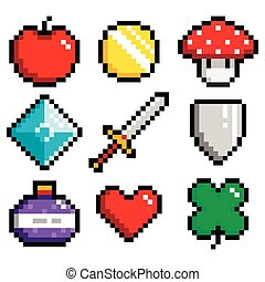 Set of minimalistic pixel art objects isolated