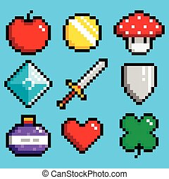 Set of minimalistic pixel art vector objects isolated