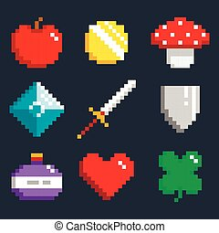 Set of minimalistic pixel game objects