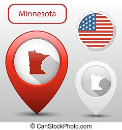 Set of Minnesota state with flag america and map pointer