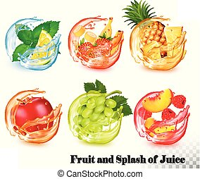 Set of mint and fruit in a water and juice splash. Mint and lemon, strawberry and banana, pineapple, apple, grapes, peach and raspberry. Vector