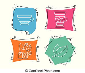 Mint bag, Dry cappuccino and Frappe icons. Mint leaves sign. Mentha tea, Beverage mug, Cold drink.