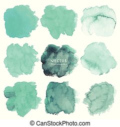 Set of mint watercolor on white background, Brush stroke watercolor, Vector illustration.