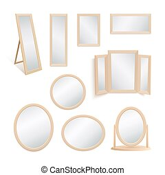 Set of mirrors isolated on white background.