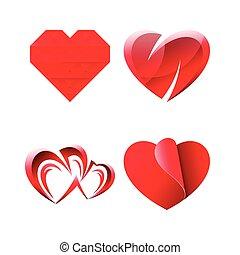 Set of Miscellaneous Cute Romantic Hearts
