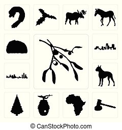 Set of mistletoe outline on white background, gavel african continent beehive background icons