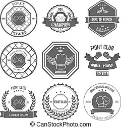 Set of Mixed Martial Arts labels, badges